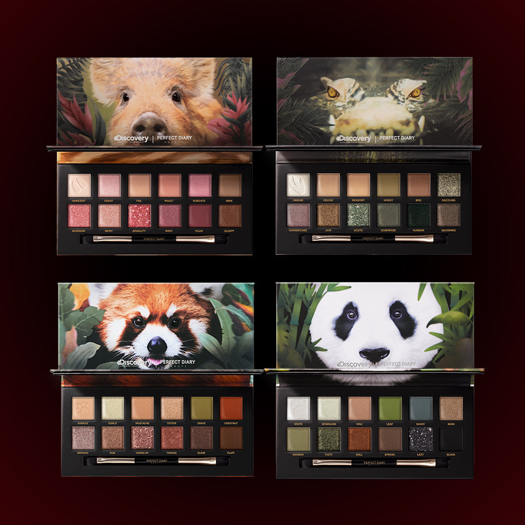 Perfect Diary Ultimate Royal Four Eyeshadow Palettes Gift Set (Set without box)01 Piggy+03 Crocodile+05 Red Panda+06 Giant Panda