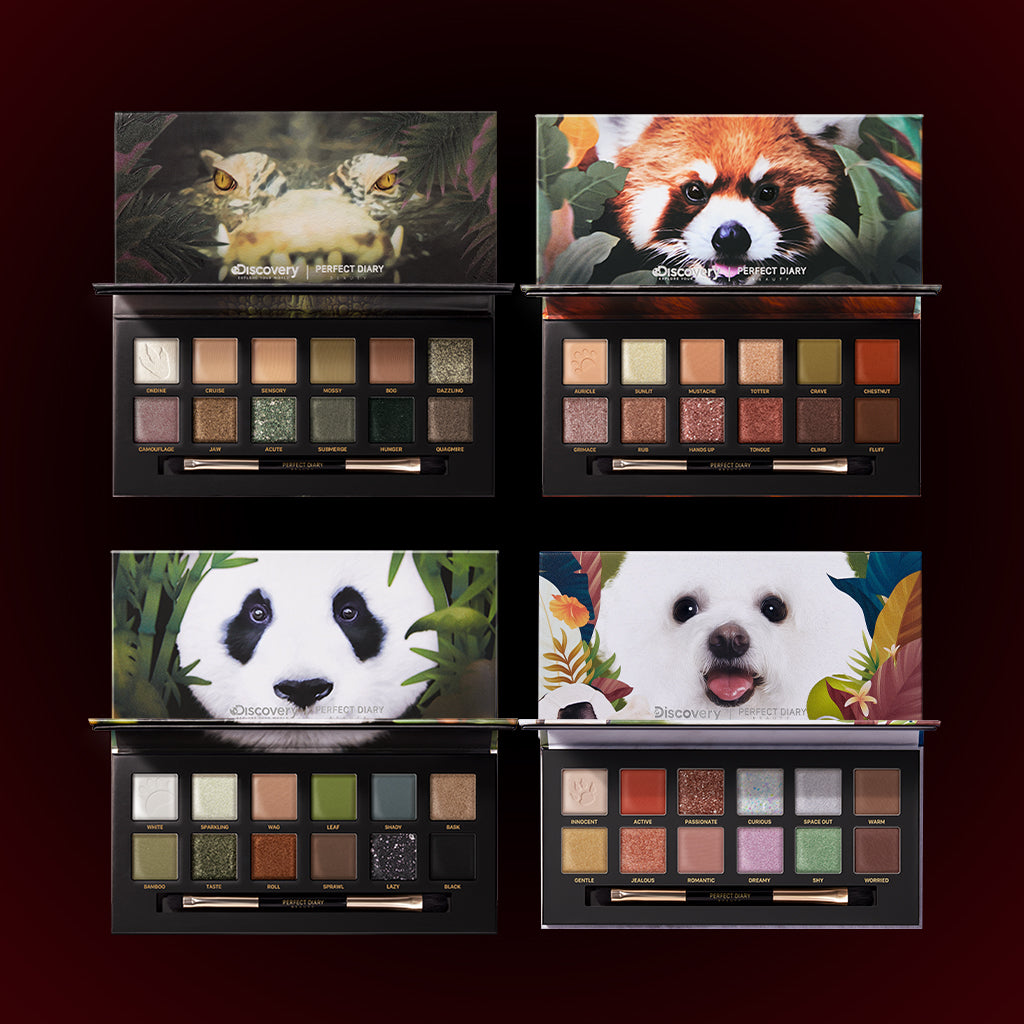 Perfect Diary Ultimate Royal Four Eyeshadow Palettes Gift Set (Set without box)03 Crocodile+05 Red Panda+06 Giant Panda+08 Puppy