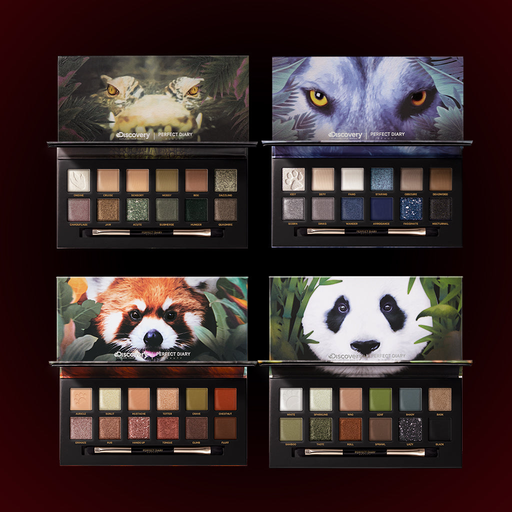 Perfect Diary Ultimate Royal Four Eyeshadow Palettes Gift Set (Set without box)03 Crocodile+04 Wolf+05 Red Panda+06 Giant Panda