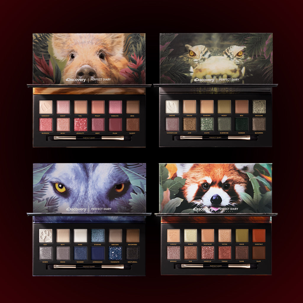 Perfect Diary Ultimate Royal Four Eyeshadow Palettes Gift Set (Set without box)01 Piggy+03 Crocodile+04 Wolf+05 Red Panda