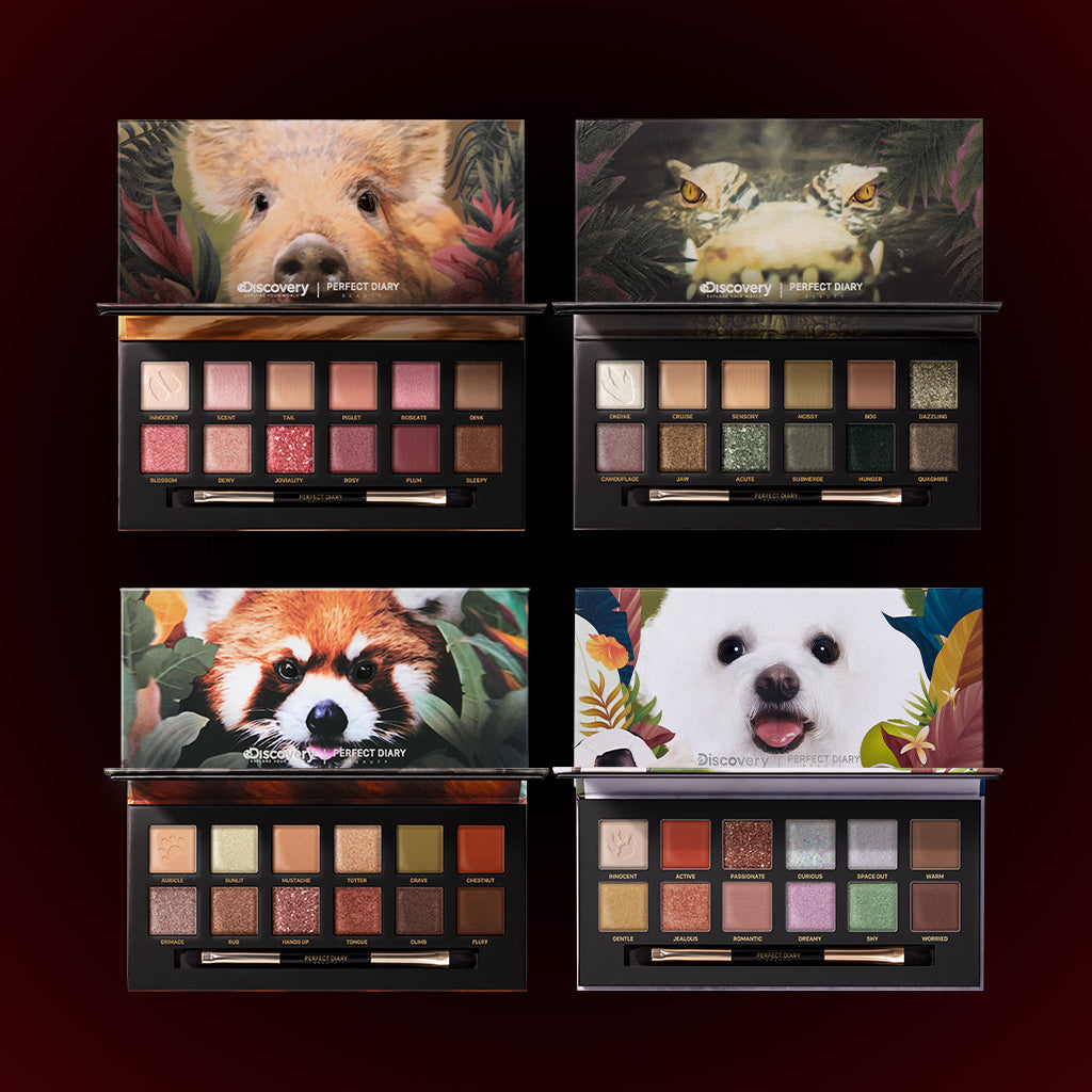 Perfect Diary Ultimate Royal Four Eyeshadow Palettes Gift Set (Set without box)01 Piggy+03 Crocodile+05 Red Panda+08 Puppy