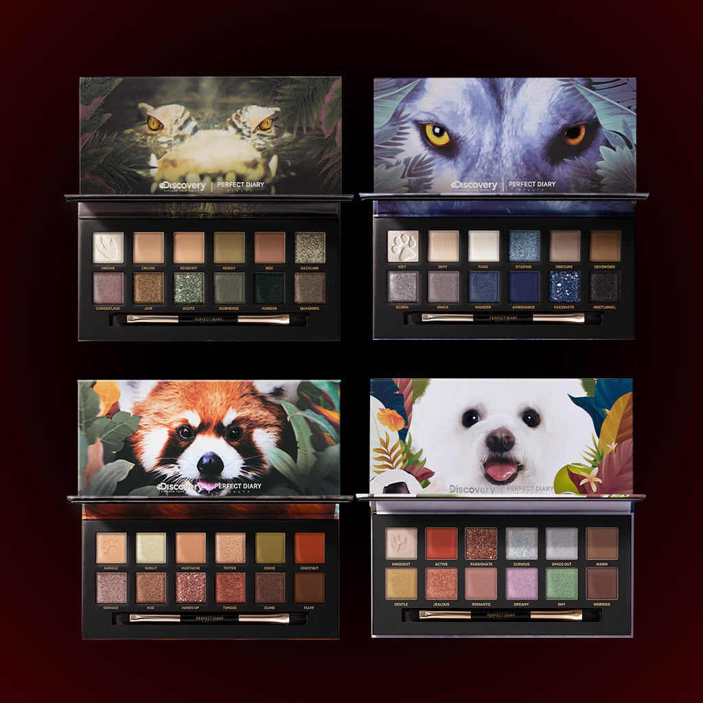 Perfect Diary Ultimate Royal Four Eyeshadow Palettes Gift Set (Set without box)03 Crocodile+04 Wolf+05 Red Panda+08 Puppy