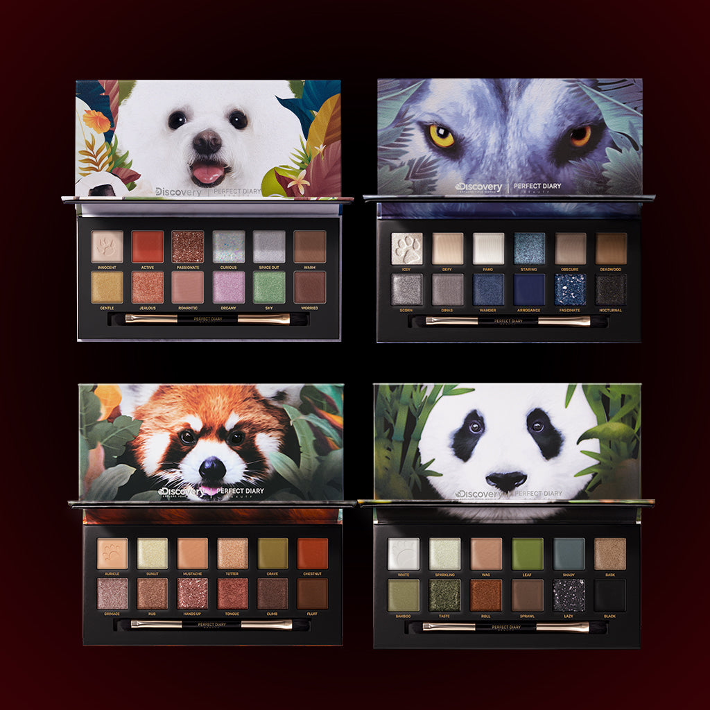 Perfect Diary Ultimate Royal Four Eyeshadow Palettes Gift Set (Set without box)04 Wolf+05 Red Panda+06 Giant Panda+08 Puppy