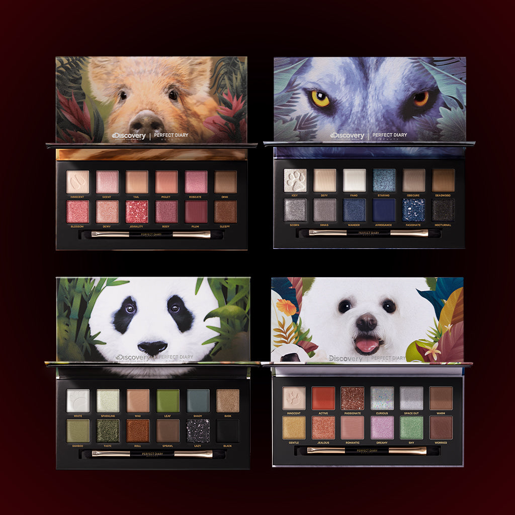 Perfect Diary Ultimate Royal Four Eyeshadow Palettes Gift Set (Set without box)01 Piggy+03 Crocodile+06 Giant Panda+08 Puppy