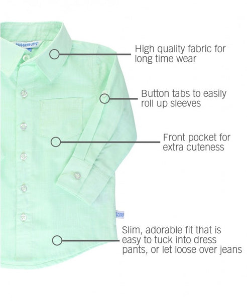 Mint Slub Button Down Shirt