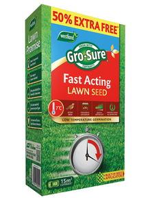 Gro-sure fast acting lawn seed 50% extra free 15m2 coverage