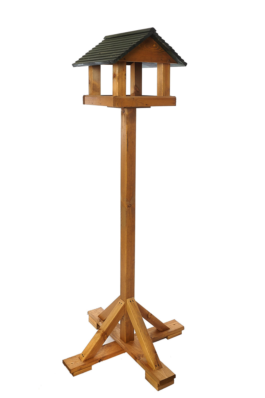 Bird Brasserie - Forest Green Wooden Roof Bird Table