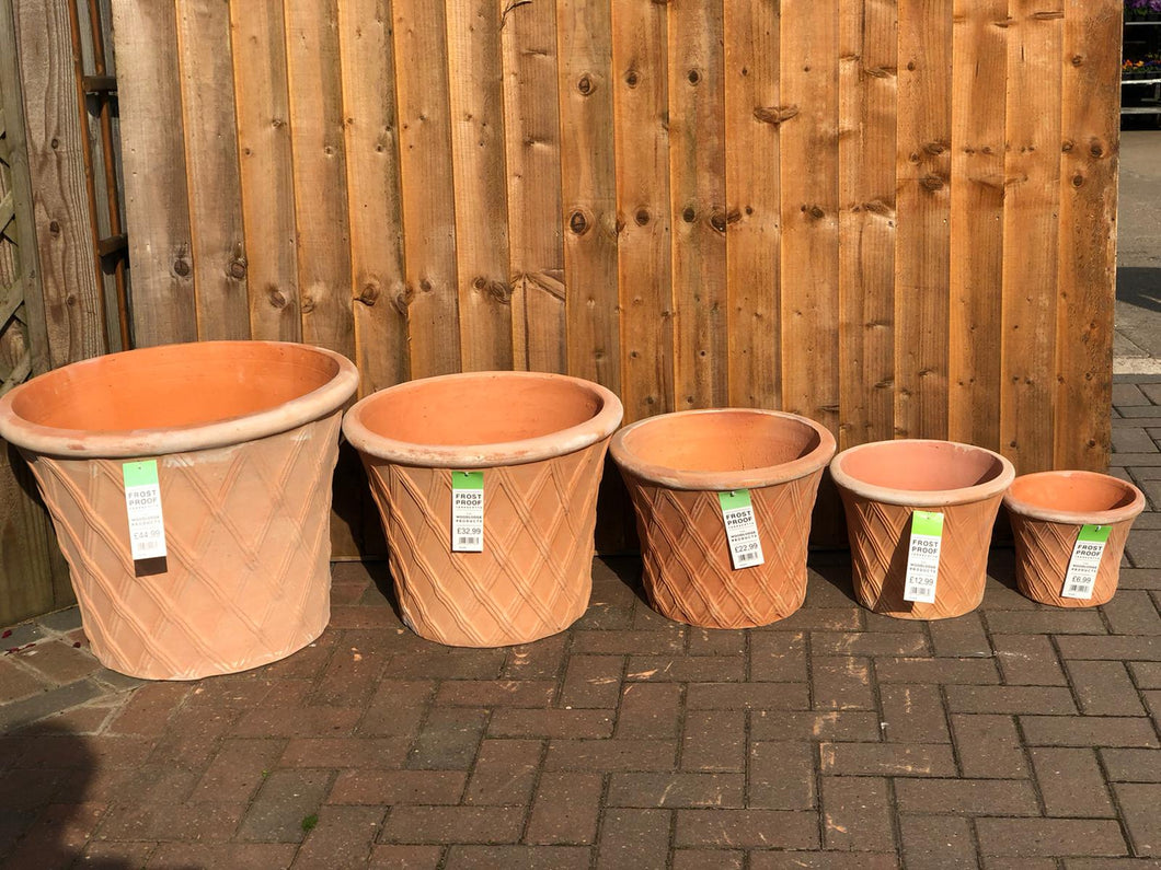 Terracotta colour lattice design pots