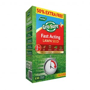 Gro-sure Fast Acting Lawn Seed 10m2 + 50% EF EQP