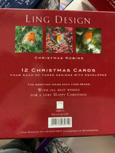 Load image into Gallery viewer, Ling design 12 Christmas cards robin design