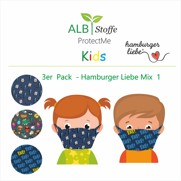 ProtectMe Kids *3er Pack* Hamburger Liebe Mix 1