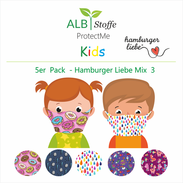 ProtectMe Kids *5er Pack* Hamburger Liebe Mix 3