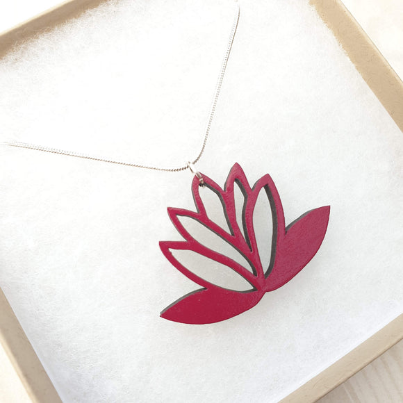 Lotus Flower Necklace - Reversible - Raspberry Red / Teal