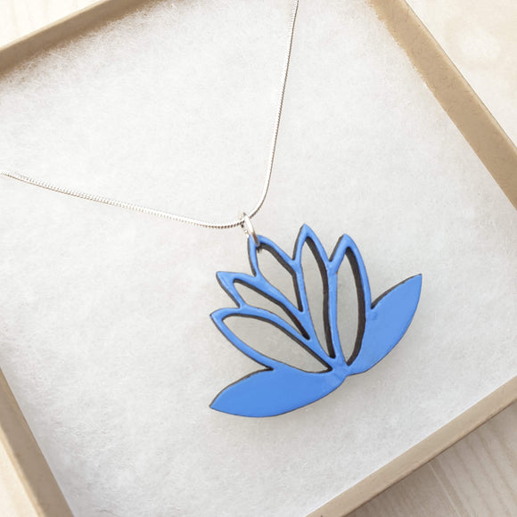Lotus Flower Necklace - Reversible - Cornflower blue / Teal