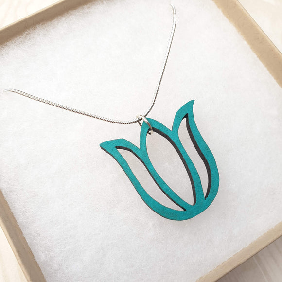 Tulip Flower Necklace - Teal