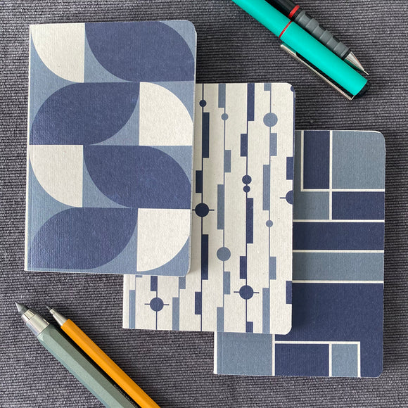 Graphic Pattern A6 Notebooks in Blue Shades (Pack of 3)