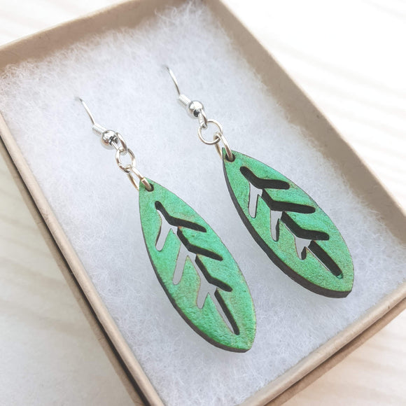 Dangly Leaf Earrings - Grass Green