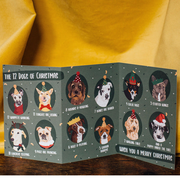 12 Dogs of Christmas Tri-fold Charity Card
