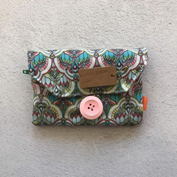 Fabric Purse with Zip Pocket - Stained Glass