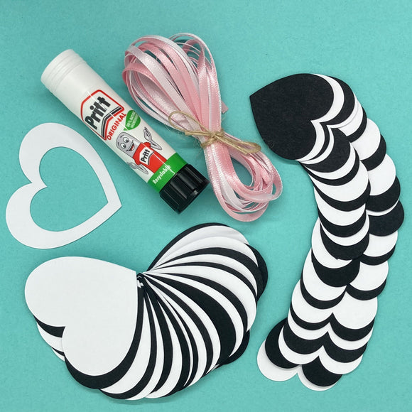 Heart Garland DIY craft kit - Black and White