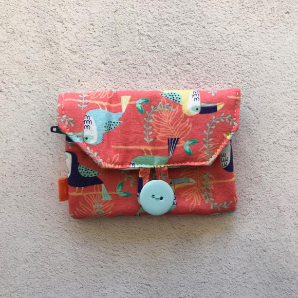 Fabric Purse with Zip Pocket - Tropical Toucans