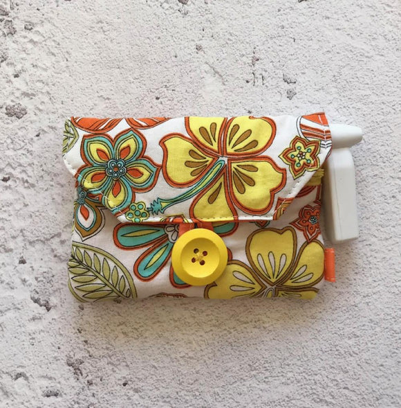 Fabric Purse with Zip Pocket - Orange Retro Flowers