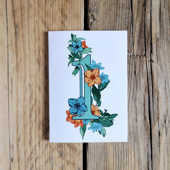Age 1 Botanical First Birthday Card