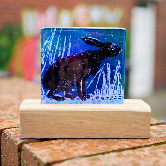 'Blue Hare' Glass Panel on Wood