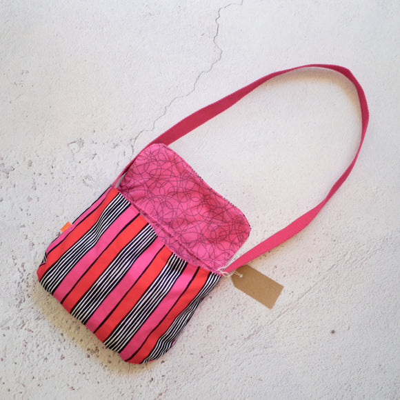 Pink Stripes Reversible Kids Shoulder Bag