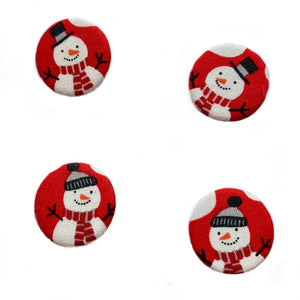 Snowman on Red Fabric Badge