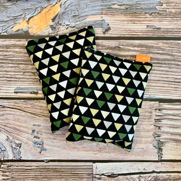 Reusable Wheat Handwarmers - Green Triangles