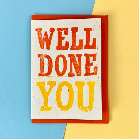 Well Done You Lino Print Card