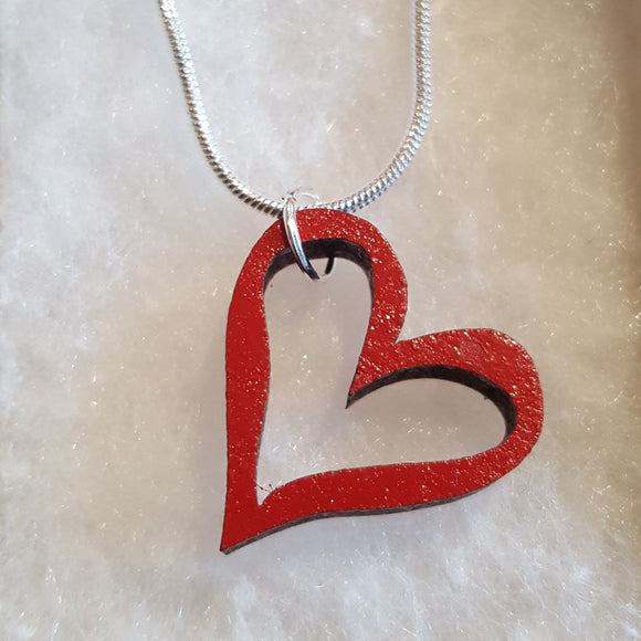 Red Heart Necklace - 'Silhouette'
