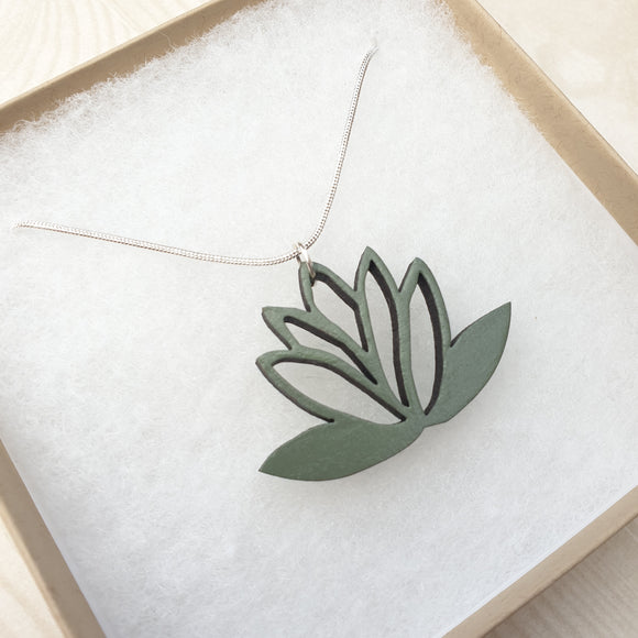 Lotus Flower Necklace - Sage/Khaki Green