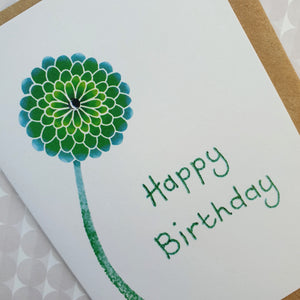 Birthday Card - Green Chrysanthemum Flower