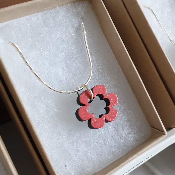 Small Daisy Flower Necklace - Reversible - Coral & Teal