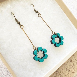 Dangly Daisy Earrings - Turquoise