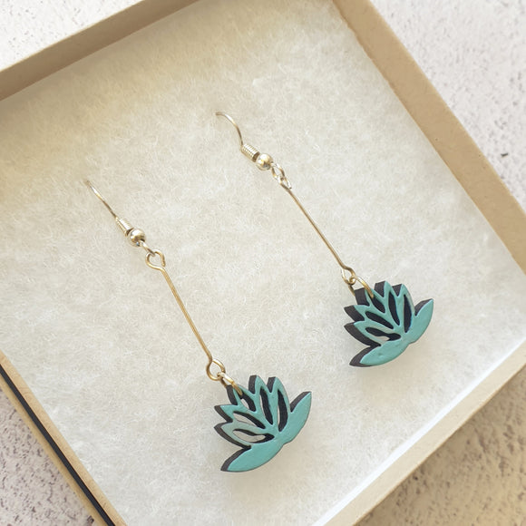 Dangly Lotus Earrings - Duck Egg Blue