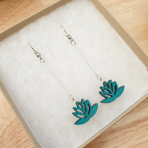 Dangly Lotus Earrings - Teal