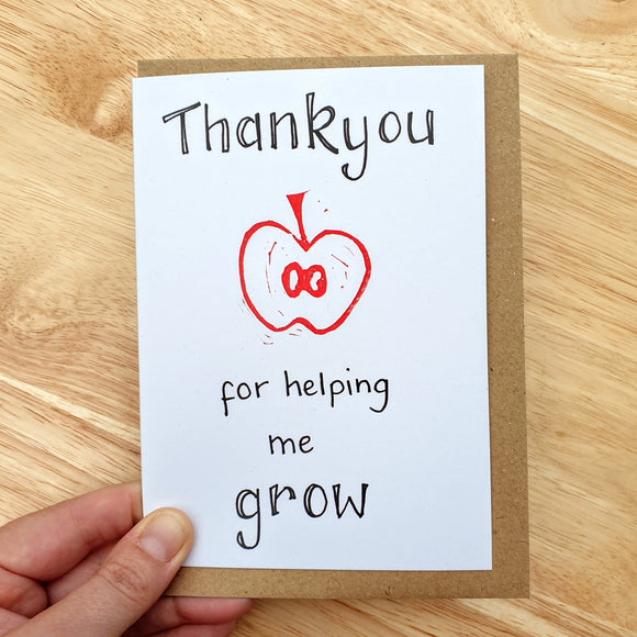 Thank You for Helping me Grow - Teacher Card
