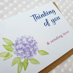 Hydrangea flowers card - Thinking of you
