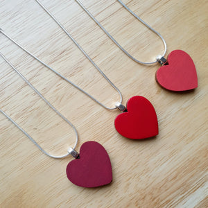 Classic Burgandy-Red Heart Necklace