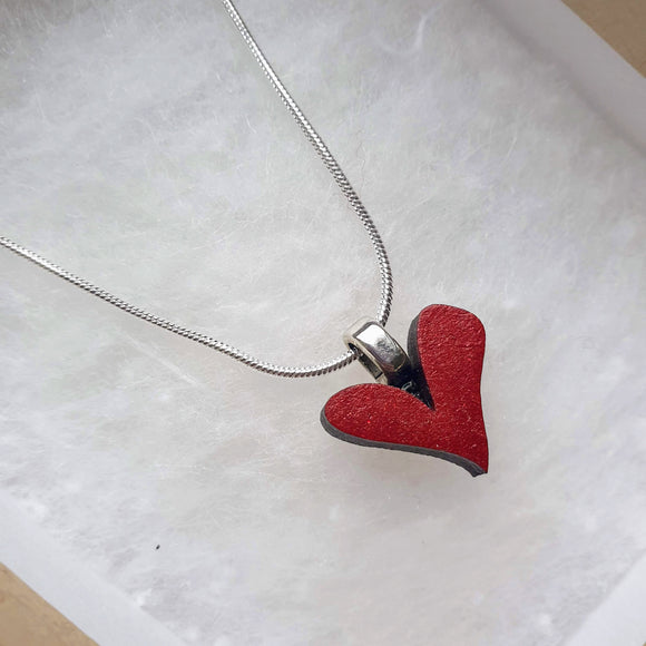 Red Heart Necklace - 'Whole heart'