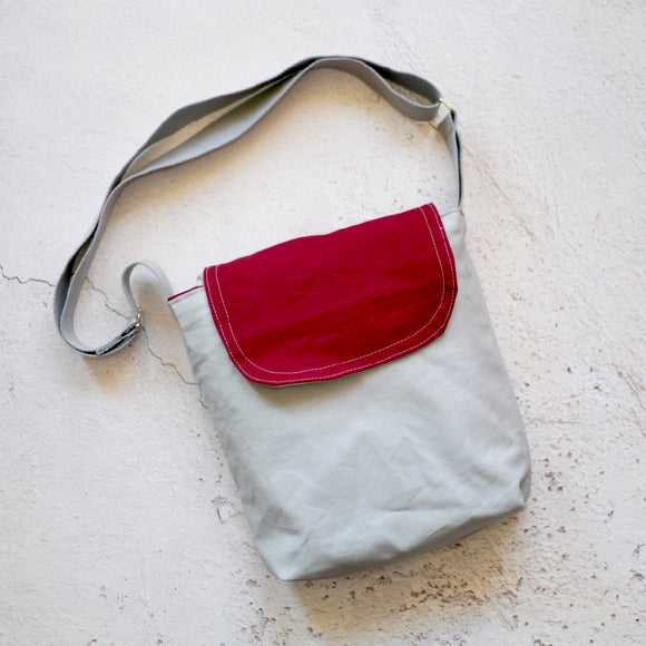 Canvas Shoulder Bag - Grey/Burgundy