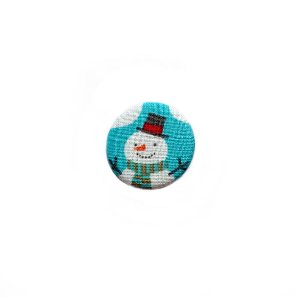 Snowman on Blue Fabric Badge
