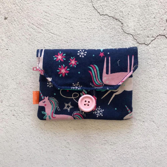 Fabric Purse with Zip Pocket - Unicorns