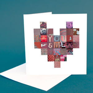 "Typography Greetings Card ""You & Me"""