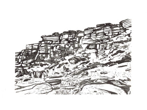 Tower Face, Stanage (Tonal ) - Art Print