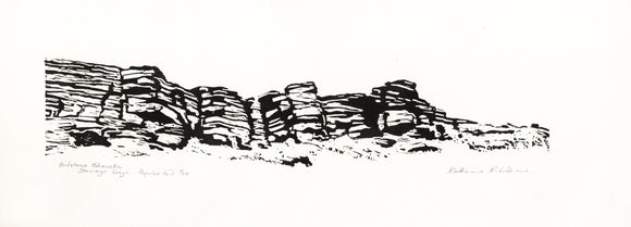 Gritstone Silhouette - Stanage Popular End - Original linocut