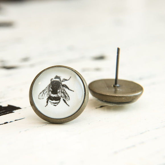 Cabochon Dangly & Stud Earrings / Natural Graphic Bee / Black And White
